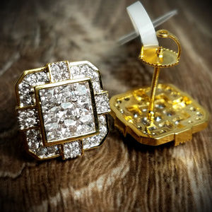 14k GP Iced Out Brick House Square Cut Earrings